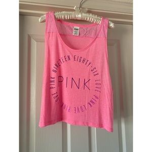 SET OF TWO (2) VS PINK cropped muscle tanks